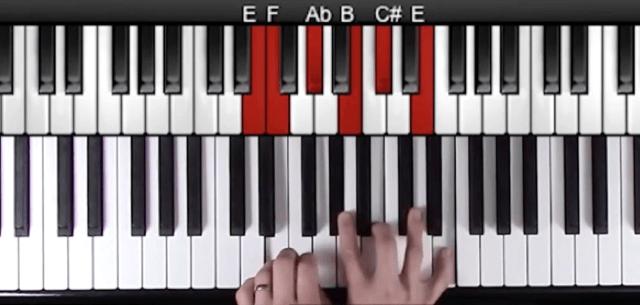 Block chord jazz piano example